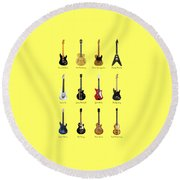 Guitar Icons No2 Round Beach Towel