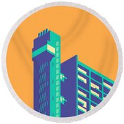 Trellick Tower London Brutalist Architecture - Plain Apricot Round Beach Towel
