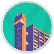 Trellick Tower London Brutalist Architecture - Plain Green Round Beach Towel