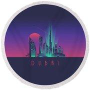 Dubai City Skyline Retro Art Deco Tourism - Night Round Beach Towel