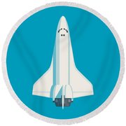 Space Shuttle Spacecraft - Cyan Round Beach Towel