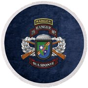 75th Ranger Regiment - Army Rangers Special Edition Over Blue Velvet Round Beach Towel