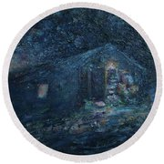Trapp Family Lodge Cabin Sunrise Stowe Vermont Round Beach Towel
