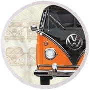 Volkswagen Type 2 - Black And Orange Volkswagen T1 Samba Bus Over Vintage Sketch  Round Beach Towel