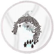 March Of The Penguins Round Beach Towel