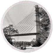 Penobscot Narrows Bridge And Observatory Round Beach Towel