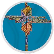 The Abstract Cross Round Beach Towel
