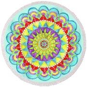 Mandala Of Many Colors On Turquoise Round Beach Towel