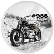 No 955 Mcqueen Desert Sled Round Beach Towel