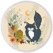 Autumn Garden Moonlit Kitty Cat Round Beach Towel