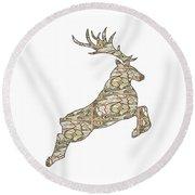 Reindeer - Holiday - North Pole Round Beach Towel