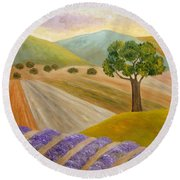 Lavender Sundown Round Beach Towel