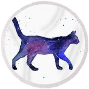 Space Cat Round Beach Towel