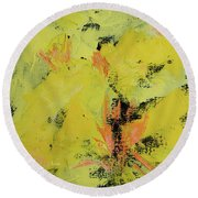 Yellow Blooms Coral Accents Round Beach Towel