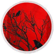 Raven - Black Over Red Round Beach Towel