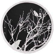 Raven - White Over Black Round Beach Towel