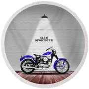 The Sportster Vintage Motorcycle Round Beach Towel