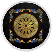 Ancient 12-spoked Gold Dharmachakra - The Wheel Of Dharma Round Beach Towel