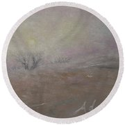 Sunrise Through The Fog Round Beach Towel