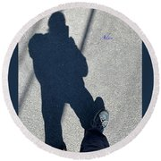 Self Portrait 19 - Balancing With My Shadow Round Beach Towel