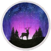 Winter Forest Galaxy Reindeer Round Beach Towel