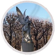 Girded By Trees, Light And An Angel Round Beach Towel
