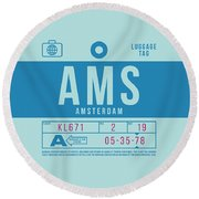 Retro Airline Luggage Tag 2.0 - Ams Amsterdam Netherlands Round Beach Towel
