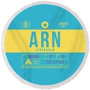 Retro Airline Luggage Tag 2.0 - Arn Stockholm Sweden Round Beach Towel