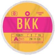 Retro Airline Luggage Tag 2.0 - Bkk Bangkok Thailand Round Beach Towel