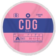 Retro Airline Luggage Tag 2.0 - Cdg Paris Charles De Gaulle France Round Beach Towel