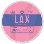 Retro Airline Luggage Tag 2.0 - Lax Los Angeles International Airport United States Round Beach Towel