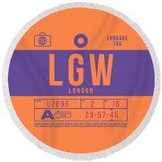 Retro Airline Luggage Tag 2.0 - Lgw London Gatwick Airport United Kingdom Round Beach Towel