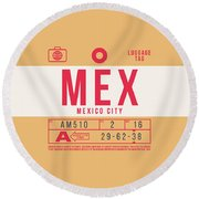 Retro Airline Luggage Tag 2.0 - Mex Mexico City International Airport Mexico Round Beach Towel
