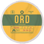 Retro Airline Luggage Tag 2.0 - Ord Chicago O'hare Airport United States Round Beach Towel