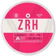 Retro Airline Luggage Tag 2.0 - Zrh Zurich International Airport Switzerland Round Beach Towel