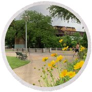 Urban Pathways Butler Park At Austin Hike And Bike Trail With Train Round Beach Towel
