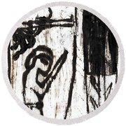 Assassin After Mikhail Larionov Black Oil Painting 10 Round Beach Towel