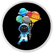 Astronaut With Planet Balloons Outta Space Round Beach Towel