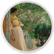 At The French Windows. The Artist's Wife Round Beach Towel