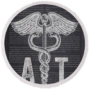 Athletic Trainer Gift Idea With Caduceus Illustration 02 Round Beach Towel