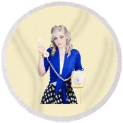 Attractive Blond Female Secretary On Vintage Phone Round Beach Towel
