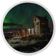 Aurora Over The Radio Station Round Beach Towel