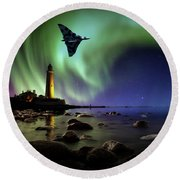 Auroral Splendour For The Vulcan Round Beach Towel