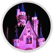 Aurora's Castle Round Beach Towel