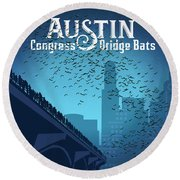 Austin Congress Bridge Bats In Blue Silhouette Round Beach Towel