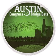 Austin Congress Bridge Bats In Green Silhouette Round Beach Towel