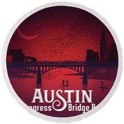 Austin Congress Bridge Bats In Red Silhouette Round Beach Towel