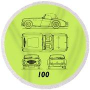 Austin Healey 100 Blueprint - Black Round Beach Towel