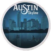 Austin Skyline Round Beach Towel