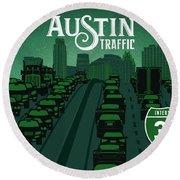 Austin Traffic Round Beach Towel